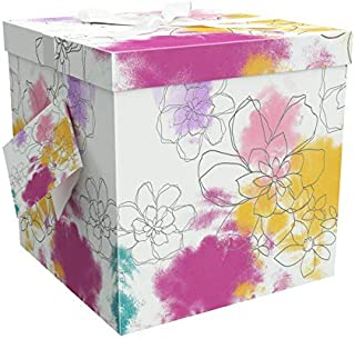 Gift Box 10x10x10 Carmen Collection - Easy to Assemble & Reusable - No Glue Required - Ribbon, Tissue Paper, and Gift Tag Included - EZ Gift Box by Endless Art US