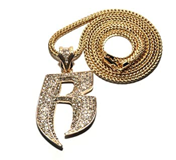Crescendo SJ INC New Iced Out Ruff Ryders  R  Pendant 4mm&36  Franco Chain Hip Hop Necklace MP860G
