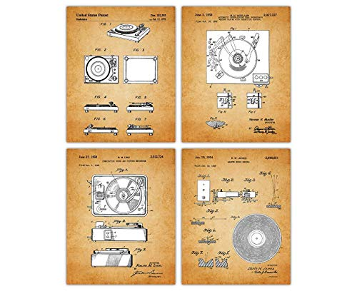 Vintage Vinyl Record Poster Patent Prints - Set of 4 8x10 Unframed Vinyl Record Wall Decor for Home, Office, Man Cave, Dorm and Bedroom - Creative Gift Idea for Vinyl Record Wall Art Enthusiasts
