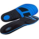 Stridetek Tactical Trainer Orthotic Insoles - Arch Support Metatarsal Pad & Gel Plugs Prevent Foot Pain Plantar Fasciitis & Shin Splints - (Blue) - Men 10 - 9.5 Women 11 - 10.5