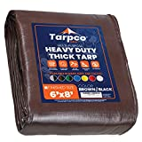 Tarpco Safety Extra Heavy Duty 14 Mil Tarp Cover, Waterproof, UV Resistant, Rip and Tear Proof, Poly Tarpaulin with Reinforced Edges for Roof, Camping, Patio, Pool , Boat (Brown/Black 6′ X 8′)
