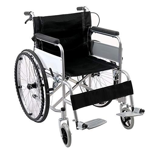 WuLien Leichter Rollstuhl Leichtgewichtrollstuhl, Rollstühle mit Selbstantrieb, tragbar Klappbares mit Steckachsen, Trommelbremse, Kippschutz