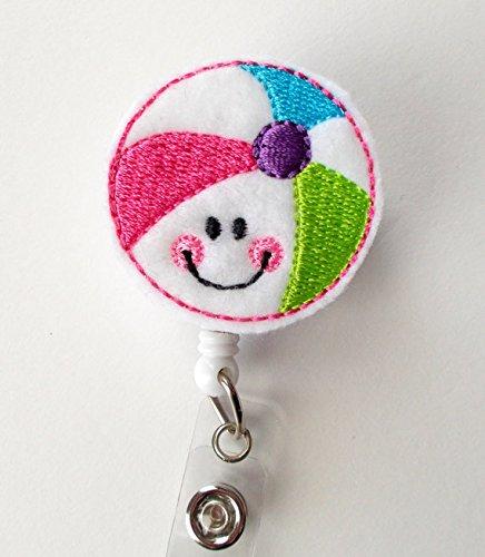 Smiling Beach Ball - Badge Reel - Medical Badge Holder - RN Badge Reel - Teacher Badge Holder - Nursing Badge Clip - Sea Pass Badge Photo #3