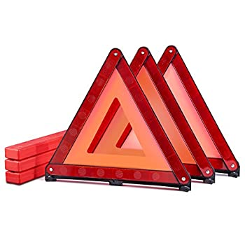 MYSBIKER Emergency Warning Triangles Roadside Safety Triangle 3 Pack Foldable Warning Reflective Triangle with Case for Vehicles Breakdown