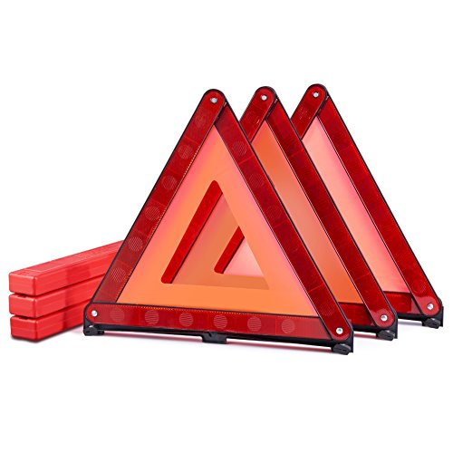 MYSBIKER Emergency Warning Triangles, Roadside Safety Triangle, 3 Pack Foldable Warning Reflective Triangle with Case for Vehicles Breakdown