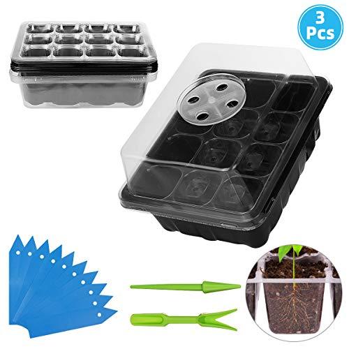 ANBET 3 Pack Samen Propagator Tablett Set Pflanze Samen Starter Tablett Kit mit einstellbaren Feuchtigkeit Dome Seedling Tablett für Keimung wachsen, Gewächshaus wachsen (12 Zellen pro Tablett)