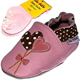 Heart Soft Sole Real Leather Baby Girl Shoes with Matching Anti-Slip...