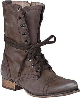 d81fab86 Tacón Bajo Botas de Punta Redonda para Mujeres Retro Otoño Invierno Casual  Zapatos con Cordones Mujer