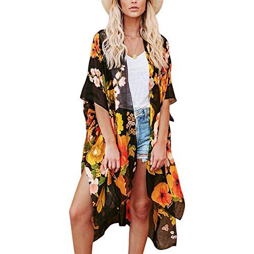 Gebell Kimono Damen - Florale Chiffon Kimono Cardigan Lange Strand Bikini Cover Up 3/4 Hülse Boho Sommer Bluse Tops Leichte Beachwear Jacke