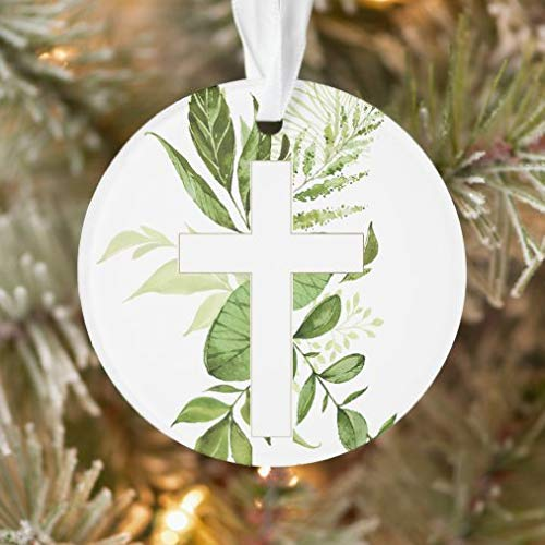 tian huan88 Christmas Ornaments,Round Rustic Baptism Greenery Cross Favor Ornament XMAS Gifts Presents, Holiday Tree Decoration Stocking Stuffer Gift