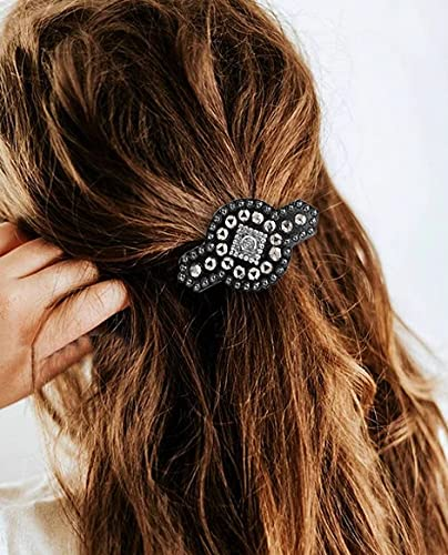 Yean Vintage Crystal Hair Clip Boho Rhinestone Hair Barrette Geometric Hair Pin Fashion Hair Barrettes Clip Celtic Metal Hair Accessorie for Women and Girls (Silver)