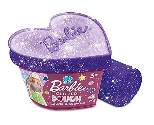 Liscianigiochi- Lisciani, Barbie Glitter Dough, Botes en Forma de corazón-Plastilina con Purpurina, 100 g, 88744-Juego...