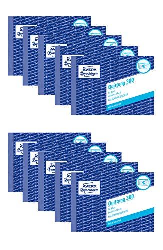 AVERY Zweckform 300 Quittung inkl. MwSt. (A6 quer, mit 1 Blatt Blaupapier, 50 Blatt) (10 Stück, Weiß)