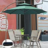 YRRA Paraguas al Aire Libre 2.7M Cantilever Banana Parasol Patio Cafe Top Double Top Soport Sunshade Waterproof UV Protection con 8 Costillas robustas-2.7m con Base de inyección de Agua