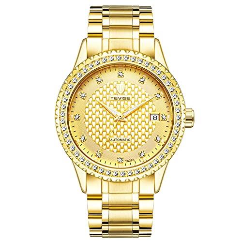 JTTM Reloj para Hombre Moda Automático Analógico De Cuarzo Reloj De Pulsera para Hombre Acero Inoxidable Deportivo Impermeable con Fecha Reloj De Pulsera,Oro