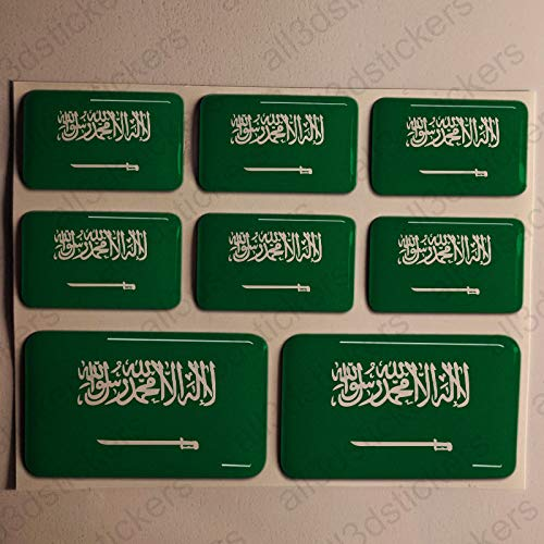 Stickers Saudi Arabia 3D, 8 x Stickers Flag of Saudi Arabia Resin Domed vinyl sticker