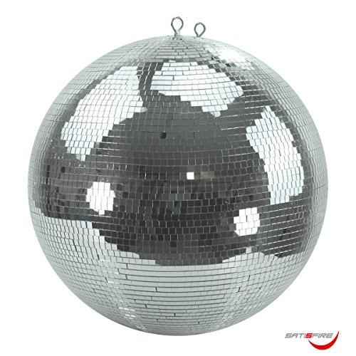 Spiegelkugel 50cm, 10x10mm Facetten aus Echtglas • Sicherheitsaufhängung • hochwertig verarbeiteter Safety Mirrorball mit Kunststoffkern • Diskokugel mit durchgehender Metallachse und Absturzsicherung
