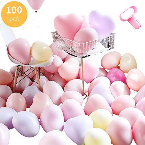 100 Piezas Globos Pastel Corazon macarrón Pastel Color Globos de látex con herramienta de atado Bombas de Globo para Graduaciones, Fiestas, cumpleaños, Ceremonia de Bodas,Globos Arco Decoraciones