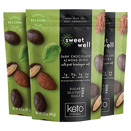 Sweetwell Keto Dark Chocolate Almond Bites, Sugar-Free Chocolate Treats, Stevia-Sweetened Chocolate Snacks (3-Pack)