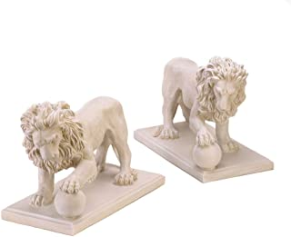 SET OF 2 STATELY LION STATUE DUO DRIVEWAY ENTRANCE GARDEN YARD ART