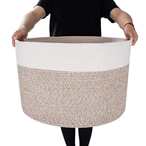 MINTWOOD Design XXXL Extra Large 22' X 22' X 14' Decorative Woven Cotton Rope Basket, Laundry Basket, Blanket Basket, Baby & Dog Toy Storage Baskets & Bin, Kid Laundry Hamper - Natural/Heathered Cream