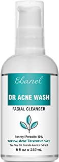 Ebanel Benzoyl Peroxide Wash 10% Acne Treatment with Tea Tree Oil, 8 Oz Maximum Strength Acne Face Body Wash, Acne Cream Cleanser Rapid Clear Stubborn Acne, Unclog Pores, Reduce Redness & Inflammation