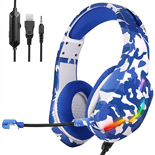 Gaming Headset PS4 Headset, Xbox One Headset with Noise Canceling Gaming Headphones Stereo Sound Headphones with Bass Surround, Soft Memory Earmuffs for PS4, MAC, PC, Xbox One (Navy Blue)
