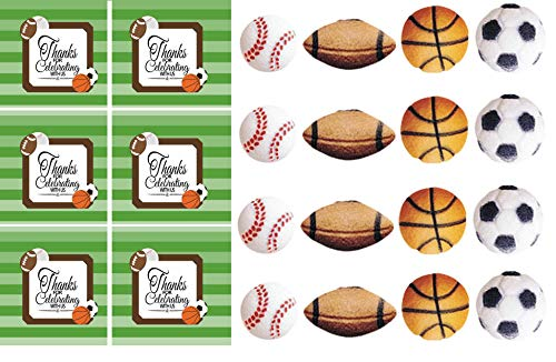 """24pk Sports Balls 1"""" - 1 1/8"""" Edible Sugar Decoration Toppers for Cakes Cupcakes Cake Pops w. Edible Sparkle Flakes & Decorating Stickers"""