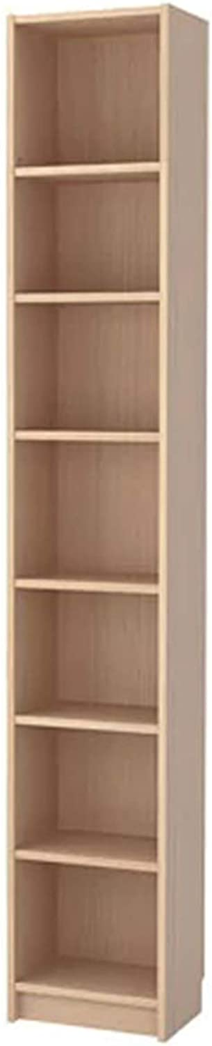 Bookcase White Stained Oak Veneer 40 x 237 x 28 cm Adjustable Shelves with Height Extension Unit