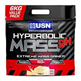 USN Hyperbolic Mass All In One Muscle and Size Gainer High Quality Protein Powder, Vanilla, 63 g + Creatine BCAA Glutamine Vitamines Minerals, 6 kg, 2 Units