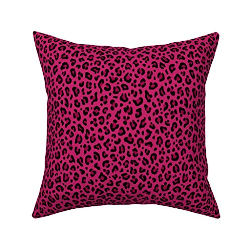 Love LeopardPrint in Hot Pink Leopard Spots Punk Rock Animal Print Fluwelen zacht kussen Cover Vierkant Decor 20