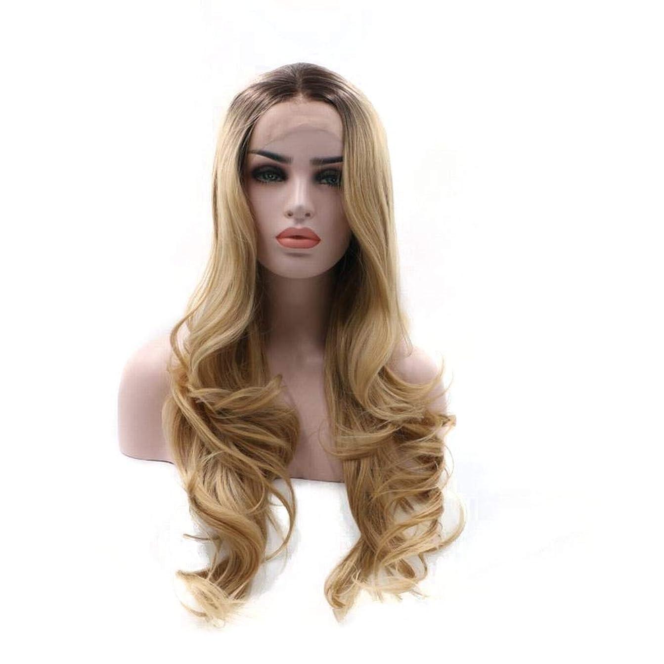 遺伝的コマースレイBOBIDYEE グラデーションゴールドロングカーリーヘアフロントレース手織かつらヘッドギア複合ヘアレースウィッグロールプレイングかつら (色 : Blonde)