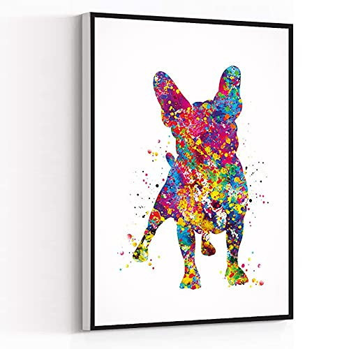 NEW YORK WALL ART,prints for wall decor bathroom,christmas kitchen decor,French Bulldog Watercolor Dog Print Frenchie art print Bouledogue Francais Art Gift Pet Dog Love Friend,8''x12'' Framed