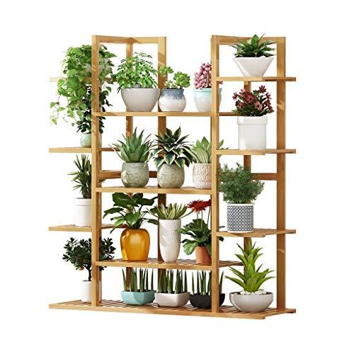 William 337 Bloemenrek Bloemenstandaard 4-Tier Bamboe Plant Display Stand Buiten Binnen Bloempothouder Tuin Patio Meerdere Planten Opslagrek