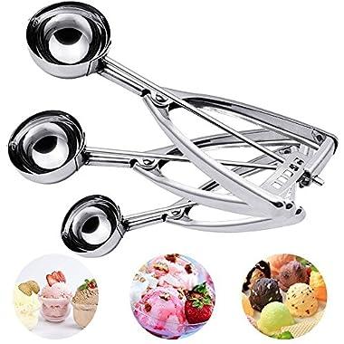 Hisome Ice Cream Scoop, 3PCS Stainless Steel Trigger Kitchen Scoop for Melon Baller, Baking, Fruit Salad Scoop, Cookie Scoopper, Spoon Kit