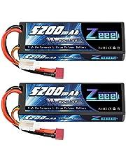 Zeee 2S Lipo-batteri 7,4 V 80 C 5 200 mAh RC Lipo-batterier med Deans T-kontakt för RC Evader BX bil bil lastbil Truggy RC Hobby (2 förpackningar)