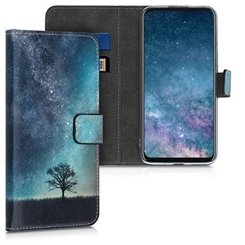 kwmobile Wallet Hülle kompatibel mit Motorola Moto G8 Power - Hülle mit Ständer Kartenfächer Galaxie Baum Wiese Blau Grau Schwarz