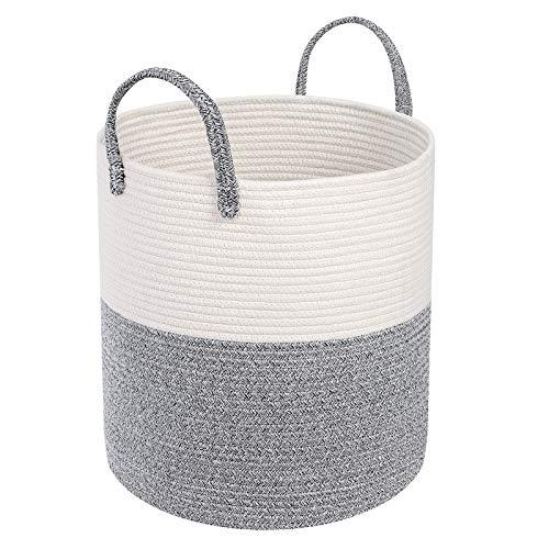 SONGMICS Cesta de cuerda de algodón, cesta de almacenamiento con asas, cesta de lavandería de 13.2 galones (50 L) ULCB440G01