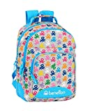 safta 612052773 Mochila Doble con cantoneras Adaptable a Carro Benetton, Multicolor (Logo)