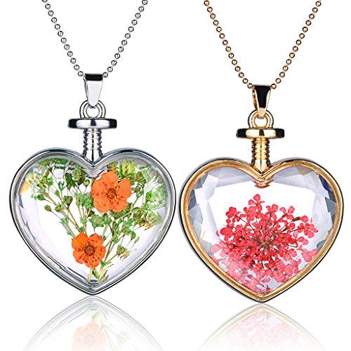 Yumilok - Collana con ciondolo a forma di bottiglia a forma di cuore in lega di vetro trasparente, per donne e ragazze, 2 pezzi, colore: Rosso/Giallo