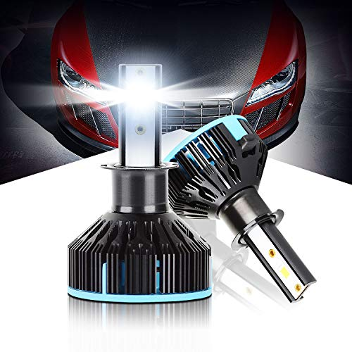 Max5 H3 Led Headlight Bulbs 10000LM 6500K Xenon White Color Plug & Play Led Conversion Kit 360 Degree Adjustable Beam Extremely Bright Led Headlight Replacement, Pack of 2