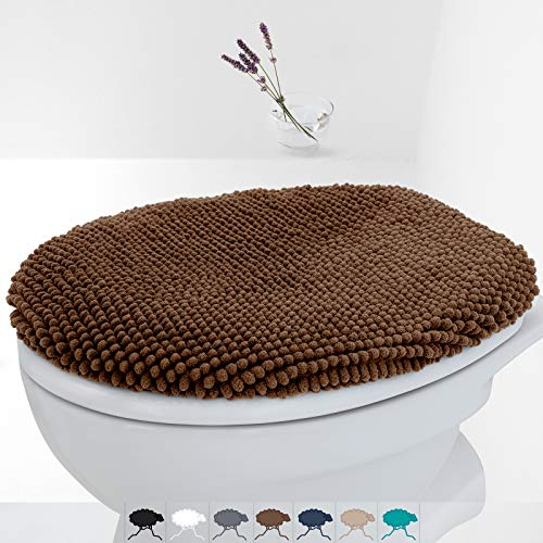Fluffy Grip Chenille Bathroom Toilet Lid Cover, Large Size, Machine Washable, Extra Soft Shag Plush Fabric Covers, Teal Toilet seat Cover Fits Most Size Toilet Lids (Brown)