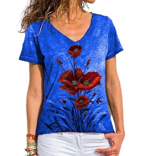 Camisas Estampadas para Mujer Camisetas Cuello en V de Manga Corta para Mujer de Verano Tops con Estampado de Flores Ropa básica Casual Moda Ocio Sueltos Jersey Blusa Camisetas Delgadas y holgadas