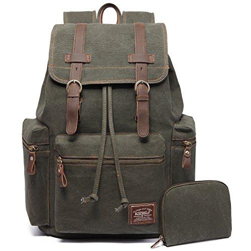 Vintage Rucksäcke,Kaukko Canvas Laptop Rucksack Damen Herren Schulrucksack Daypack Stylisch Backpack für Outdoor Wanderreise Camping mit Großer Kapazität (Grün 702-1)