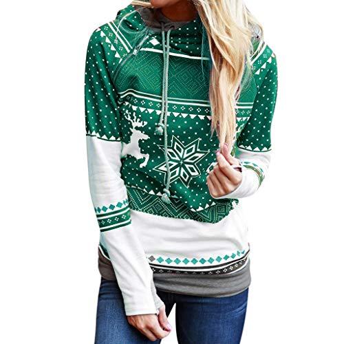 Find Bargain Muranba Womens Tops Christmas Women Zipper Print Hooded Sweatshirt Pullover Blouse T-Sh...