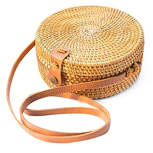 DDKK bags Handwoven Round Straw Bag-Shoulder Leather Straps Natural Bamboo Crossbody Bag-Retro Rattan Beach Bag (A)