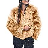 Cappotto da Donna,Cappotto da Donna Cappotto Caldo in Peluche Artificiale Giacca Invernale Capispalla Moda,Cappotti e Giacche da Donna Saldi Abbigliamento Invernale (Giallo-XL)