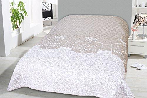 Fashion&Joy XL Bettüberwurf ROYAL Dreams Tagesdecke gesteppt 220x240 Steppdecke weiß Natur Überwurf ÖKOTEX Decke Barock Ornamente Ranke Krone Typ456
