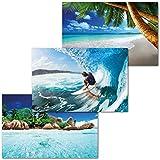 GREAT ART 3er Set XXL Poster Kinder Motive – Water Adventure – Palmen Strand Surfer Seychellen Insel Afrika Natur Landschaft Dekor Inneneinrichtung Wandbild Plakat je 140 x 100 cm
