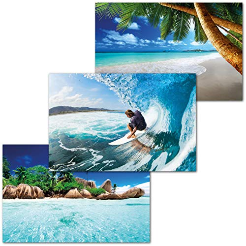 GREAT ART® Juego de 3 Carteles con Motivos Infantiles - Aventura en el Agua - Palmeras Playa surfero Seychelles África Naturaleza Paisaje Decoración de Interiores (140 x 100 cm)